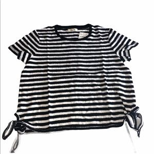 🎨Black/White Striped S/S Crop Top-Madewell